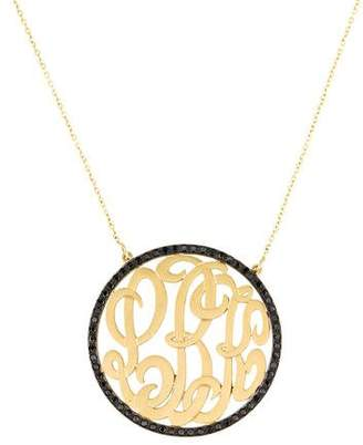 Black Diamond 14K Monogram Pendant Necklace