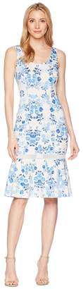 Donna Morgan Sleeveless Printed Scuba Midi with Mesh Inset Women's Dress