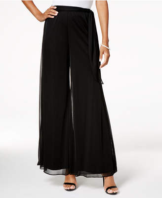 Alex Evenings Mesh-Overlay Wide-Leg Pants