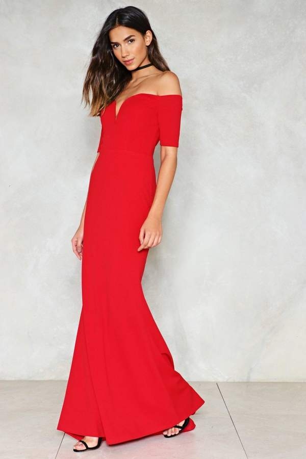 nastygal Look Me in the Heart Off-the-Shoulder Dress