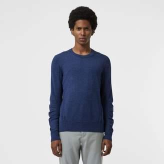 Burberry Rib Knit Detail Merino Wool Sweater, Blue