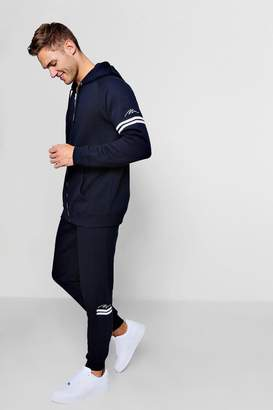 boohoo Zip Through Man Tracksuit With Contrast Stripe