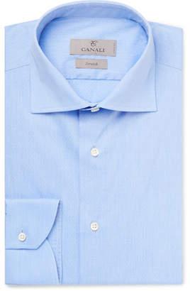 Canali Blue Pin-Dot Stretch Cotton-Blend Shirt