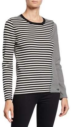 Tory Burch Mix Stripe Long-Sleeve Crewneck Sweater
