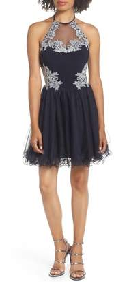 Blondie Nites Applique Bodice Fit & Flare Halter Dress