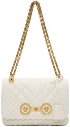 Versace White Medium Quilted Chain Bag