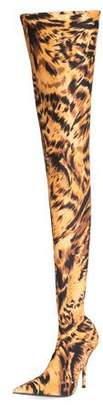 Balenciaga Stretch Leopard-Print Over-the-Knee Boot