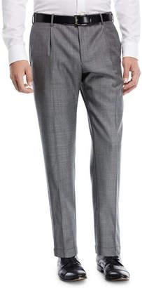 Zanella Pleat-Front Sharkskin Trousers
