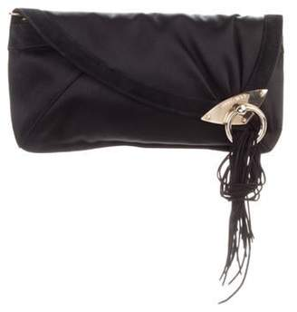 Jimmy Choo Fringe-Accented Satin Clutch Black Fringe-Accented Satin Clutch