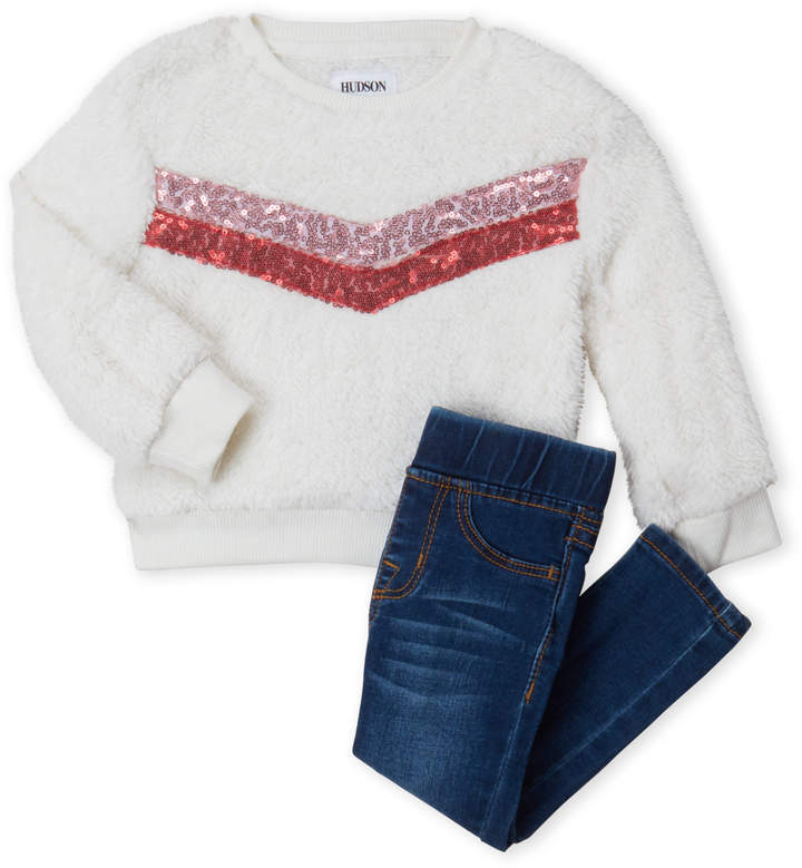 Hudson (Infant Girls) Two-Piece Sherpa Top & Jeans Set
