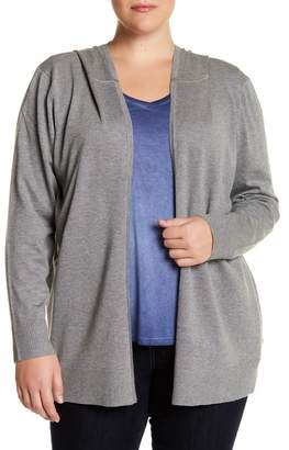 Cable & Gauge Hooded Long Sleeve Open Front Cardigan (Plus Size)