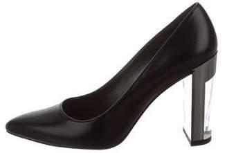 Stuart Weitzman Lucite-Accented Pointed-Toe Pumps