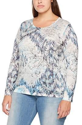 GINA LAURA Women's Shirt Allover Druck Beschmückung Pailletten Longsleeve T-Shirt,XL
