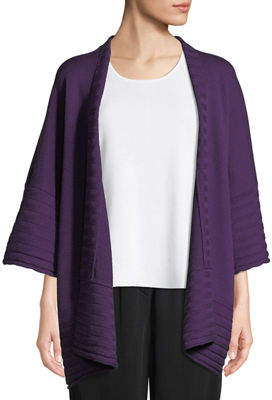 eskandar Open-Front Wool Poncho Cardigan w/ Ribbed Detail