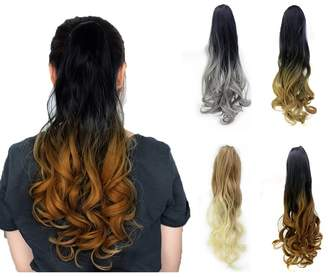 styling/ Qileyi Wavy Claw Curly Long Ombre Ponytail Two Tone Hair Extension Clip Fashion Synthetic Voluminous Magic Dip Dye