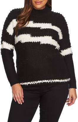 1 STATE 1.STATE Zigzag Stripe Textured Crewneck Cotton Blend Sweater