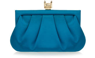 Wilbur & Gussie Margot Kingfisher Blue Tower of London Silk Clutch Bag