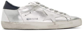 Golden Goose Silver and Navy Superstar Sneakers
