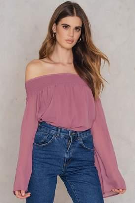 Na Kd Boho Off Shoulder Long Sleeve Top Dusty Purple