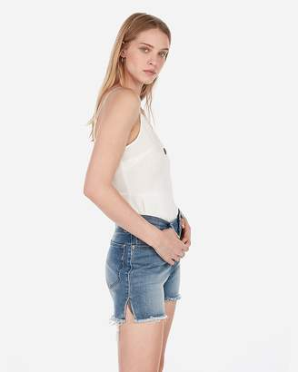 Express High Waisted Light Wash Side Slit Frayed Denim Shorts