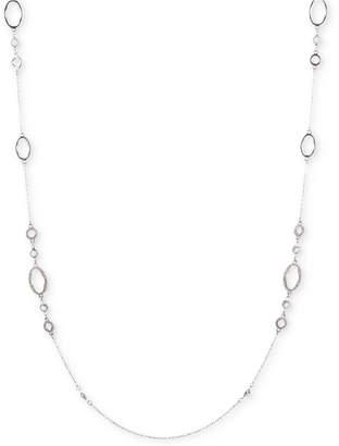 """Jenny Packham Silver-Tone Pave Strand Necklace, 42"""" + 2"""" extender"""