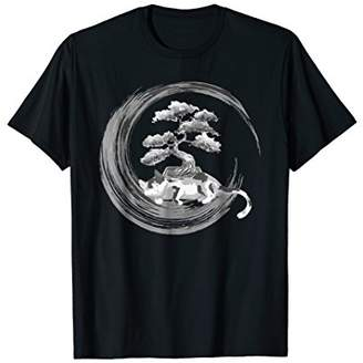 Cute Cat Lover Bonsai Tree T-Shirt Calligraphy Enso Circle