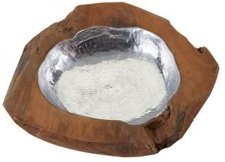 Dimond Round Teak Bowl With Aluminum Insert, Small, Natural Teak