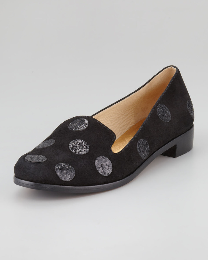 Kate Spade New York Carissa Glitter-Dot Smoking Slipper, Black