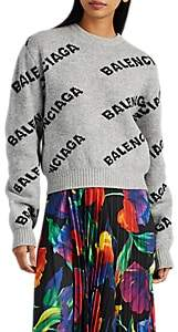 Balenciaga Women's Logo Virgin Wool Crewneck Sweater - Gray