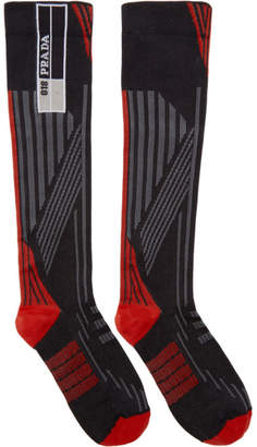 Prada Red and Black Logo Socks