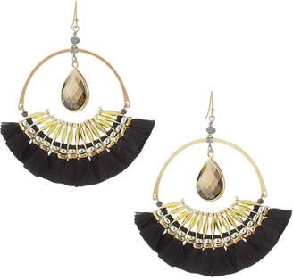 Nakamol Crystal & Fringe Hoop Drop Earrings
