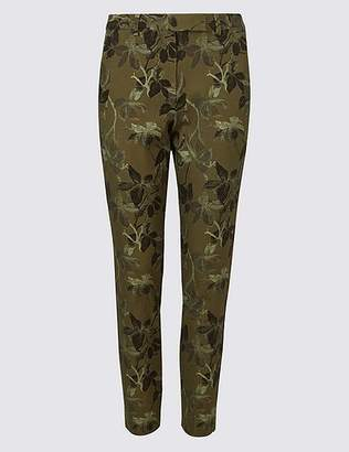 Marks and Spencer Cotton Blend Floral Ankle Grazer Trousers