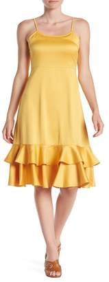 Line & Dot Sasha Tiered Ruffle Hem Satin Dress
