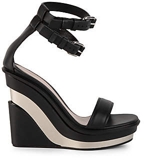 Alexander McQueen Women's Platform Leather Wedge Sandals