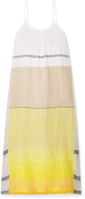 Lemlem Zena Frayed Embroidered Cotton-blend Gauze Maxi Dress - Yellow