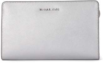 Michael Kors Lg Silver Saffiano Leather Pochette
