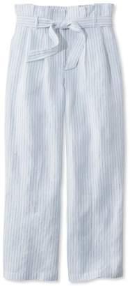 L.L. Bean L.L.Bean Signature Linen Wide-Leg Cropped Pants, Stripe