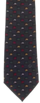 Gucci Silk Equestrian Helmet Print Tie