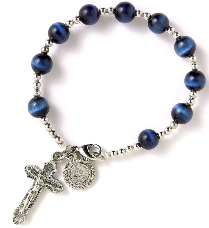 The Vatican Library Collection Silver/Navy Rosary Bracelet