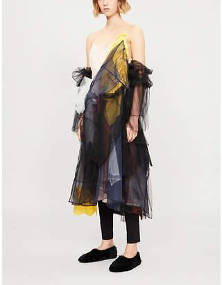 QUETSCHE Artisanal layered silk-organza, tulle and satin dress
