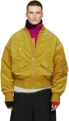 Landlord Yellow Corduroy Bomber Jacket