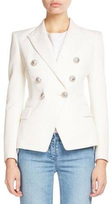Balmain Classic Double-Breasted Blazer, White $2,240 thestylecure.com