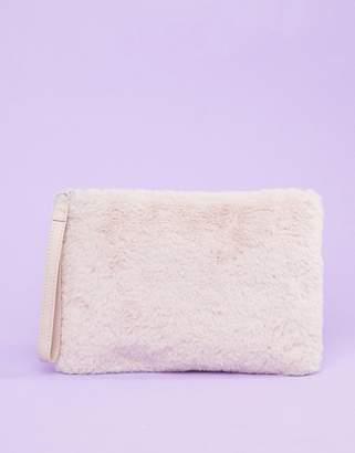 Monki faux fur zip case in pink
