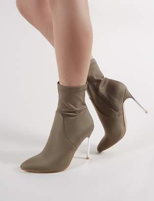 Public Desire Haze Metallic Heeled Pointy Ankle Boots in Khaki