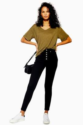 Topshop Womens Black Button Fly Jamie Jeans