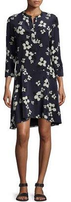 Theory Carstan Autumn Printed Silk Dress $311 thestylecure.com