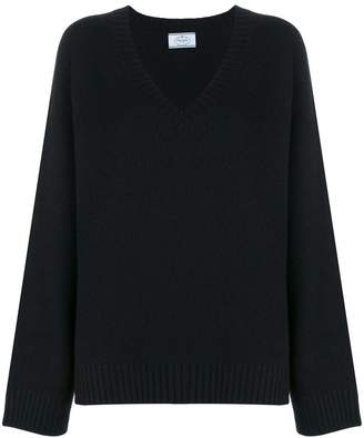 Prada v-neck long sleeve jumper