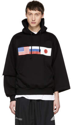 Gosha Rubchinskiy Black Asymmetric Double Sleeve Flag Hoodie