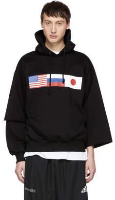 Gosha Rubchinskiy Black Asymmetric Double Sleeve Flag Hoodie