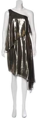 Halston Silk-Blend Metallic Dress
